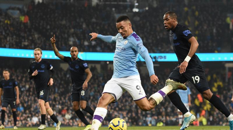 Two goals from Gabriel Jesus helped a nervy Manchester City earn a 2-1 victory over Everton at the Etihad Stadium on Wednesday, as new manager Carlo Ancelotti suffered his first Premier League defeat since taking charge of the Merseyside club. (Photo:AFP)