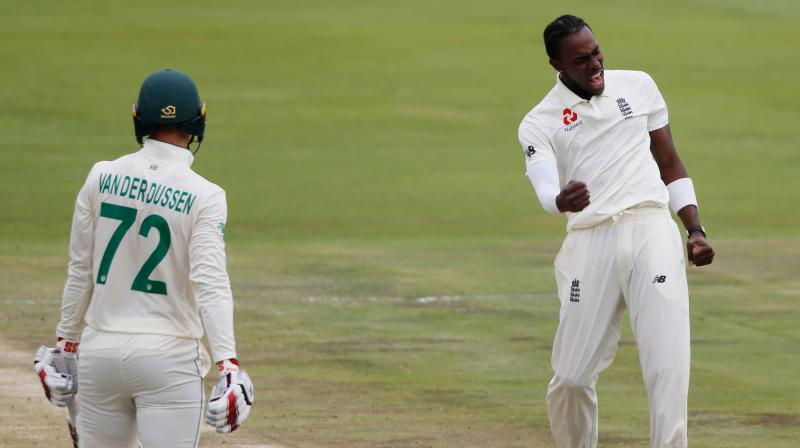 Ahead of the second Test against South Africa later this week, England is sweating over the availability of pacer Jofra Archer for the match.  The 24-year-old pacer bowled just six balls in England's training session today due to a sore elbow and this has added to injury concerns for the side, ESPN Cricinfo reported. (Photo:AFP)