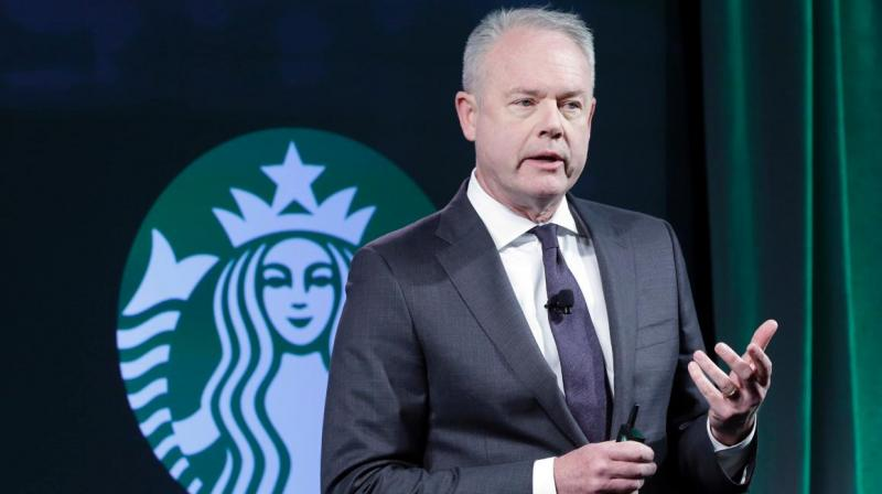 'The video shot by customers is very hard to watch and the actions in it are not representative of our Starbucks mission and values,' Johnson said in a statement. (Photo: AP)