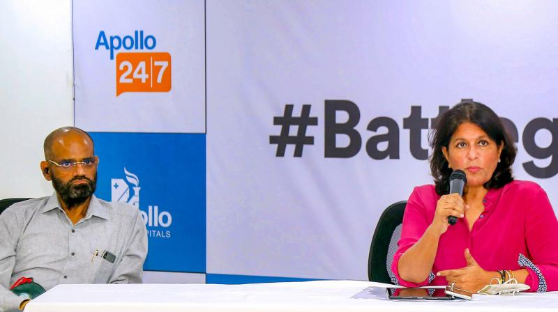 Apollo Hospitals Executive Vice-Chairperson Shobana Kamineni briefs media about Apollo Hospitals Group gearing up to administer 1 million COVID-19 vaccines per day, to augment the government's battle against COVID-19, at Apollo Hospitals, in Hyderabad. (PTI)