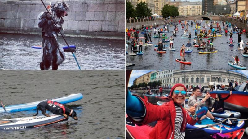 Hundreds come out to take part in Russia's annual Stand Up Paddle-Surfing festival. (Photo: AP / Instagram)