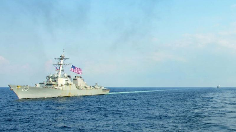 The destroyer USS Stethem passed less than 22 kilometers from tiny Triton Island.