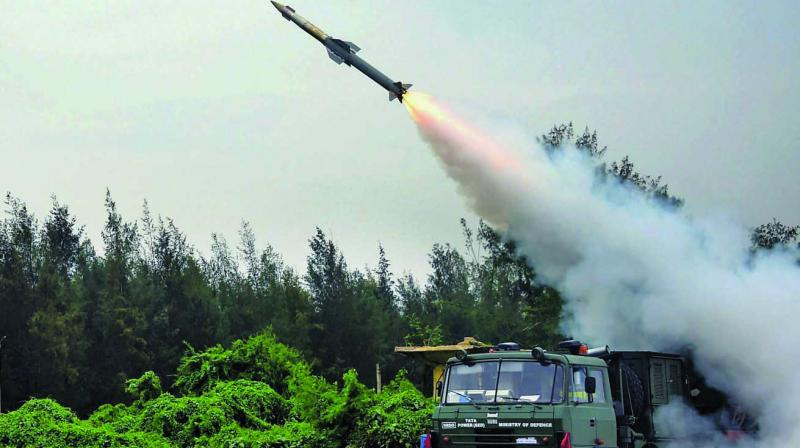 Quick reaction surface-to-air missile of the DRDO is test fired successfully from ITR Chandipur, off the Odisha Coast. (Photo: PTI)