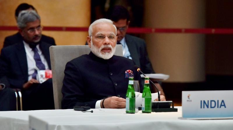 Prime Minister Narendra Modi speaks at the G-20 Summit in Hamburg, Germany. (Photo: PTI/File)