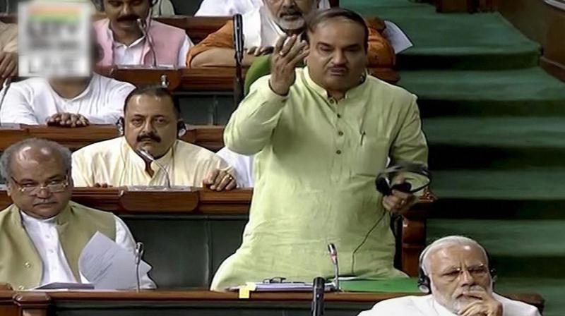 Parliamentary Affairs Minister Ananth Kumar speaks in the Lok Sabha in New Delhi. (Photo: PTI)