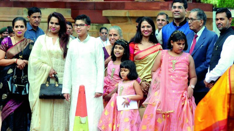 Family members of newly-elected President Ram Nath Kovind. (Photo: G.N. Jha)