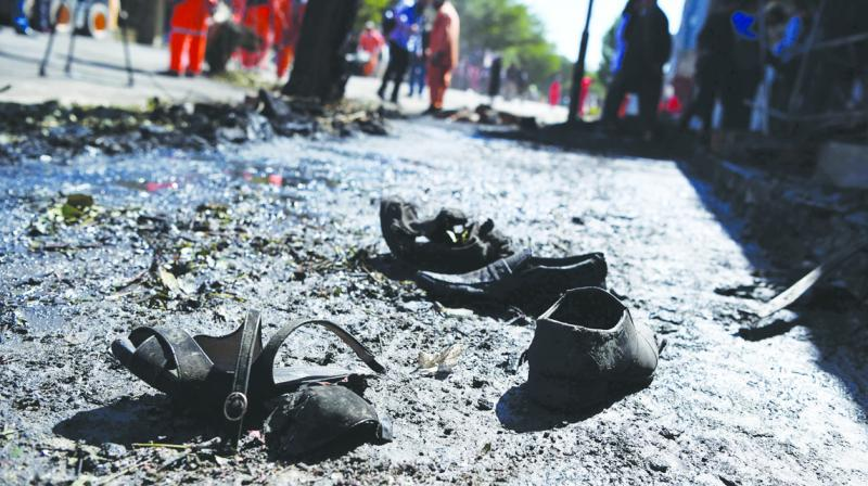Footwear of victims killed in a recent Taliban suicide blast.