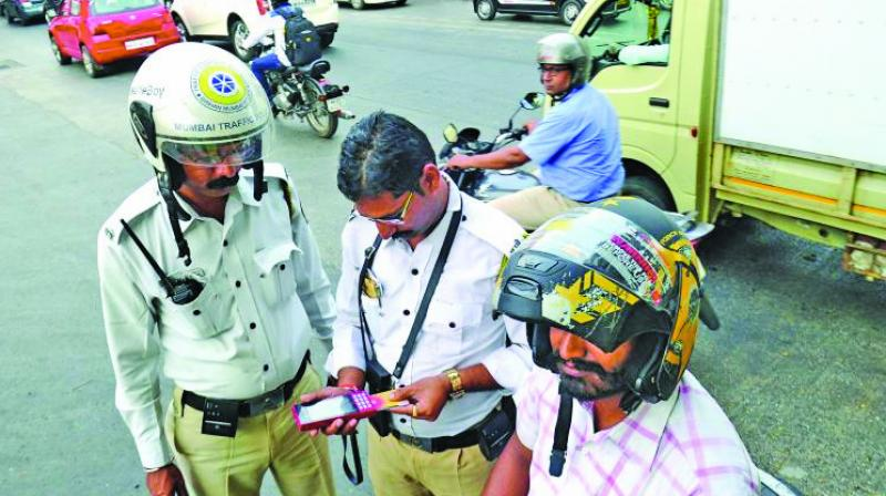 Traffic police at work.