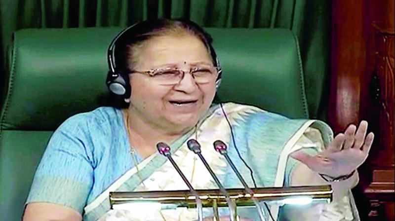 Speaker Sumitra Mahajan in the Lok Sabha. (Photo: PTI)