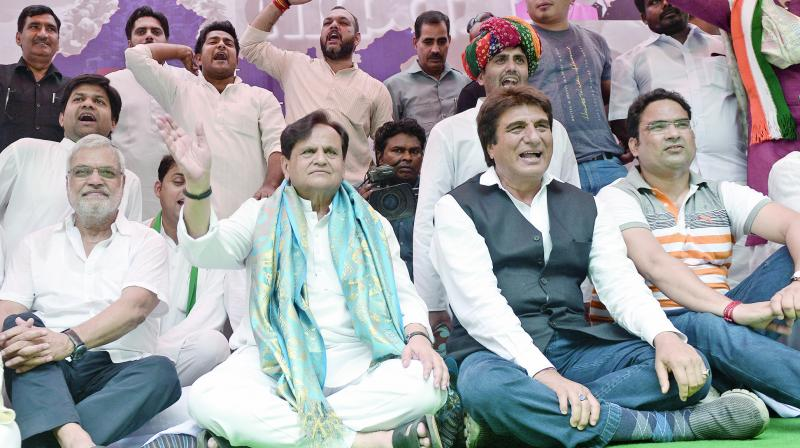 Newly-elected Congress Rajya Sabha member Ahmed Patel with party leaders Raj Babbar, C.P. Joshi and others during a rally in New Delhi. (Photo: G N Jha)