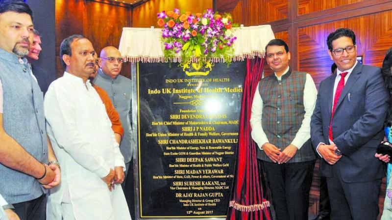 Chief minister Devendra Fadnavis unveils the first Indo-UK Institute of Health, in Nagpur.
