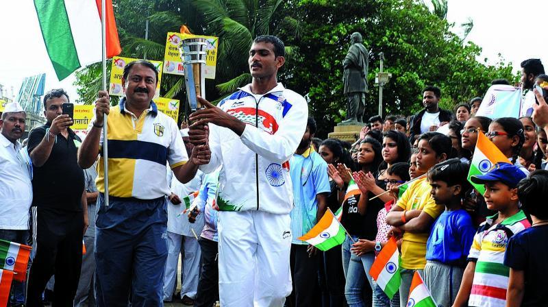 Sanjiva Singh and Dattu Baban Bhoknal during the Indo Torch Run on Sunday.