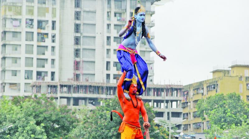 Govindas dressed as Hanuman and Krishna at a Dahi Handi event at Borivali. (Photo: Mrugesh Bandiwadekar)