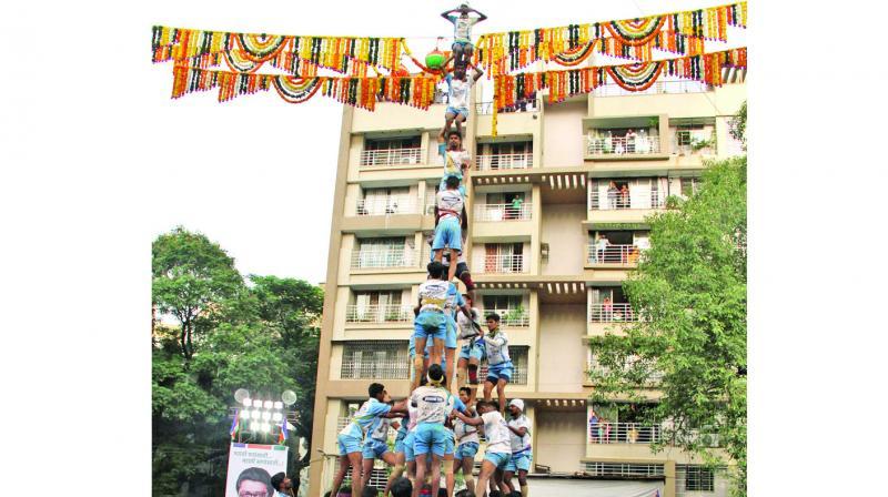 The nine-level pyramid formed by the Jai Jawan Govinda group in Thane. (Photo: Deepak kurkunde)