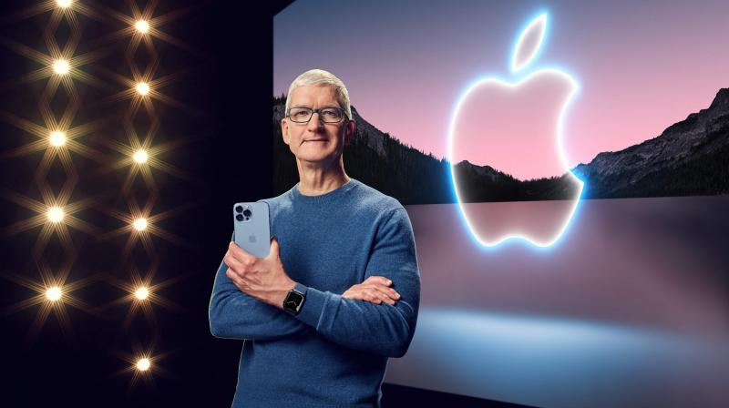 Apple CEO Tim Cook with the iPhone 13 Pro Max and Apple Watch Series 7 during a special event at Apple Park. (Photo: AFP)