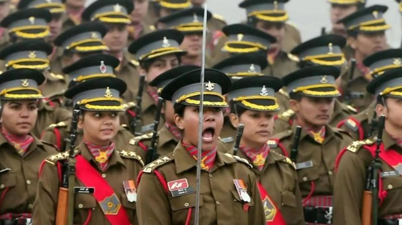 All women contingent of Indian Army during the rehearsal for the Republic Day parade at Rajpath in New Delhi. (Photo: PTI)