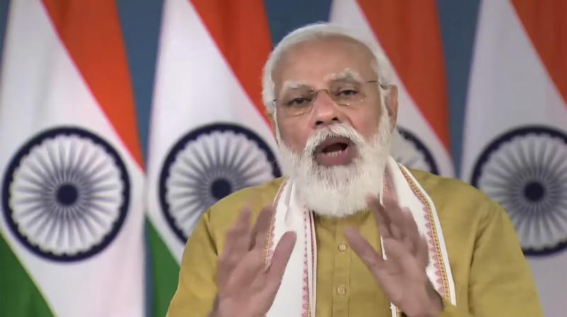 Prime Minister Narendra Modi virtually addresses the launch of Ayushman Bharat Digital Mission in New Delhi. (Photo: PTI)