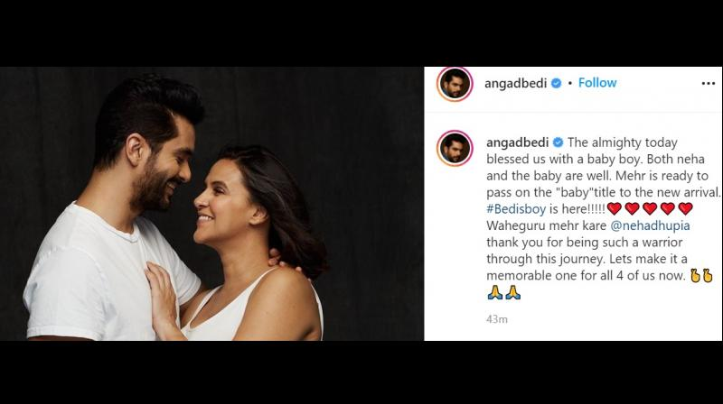 Angad announced the news and shared that both the mother and the baby are healthy. (Photo: Instagram/angadbedi)