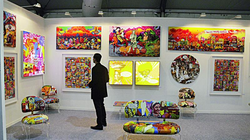 A booth showcasing works of artist Ketna Patel