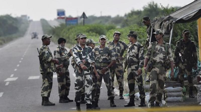 Security personnel keeping strict vigil near Sunaria Jail in which Dera Sacha Sauda Chief Ram Rahim's quantum of punishment be awarded in Rohtak on Monday. (Photo: PTI)