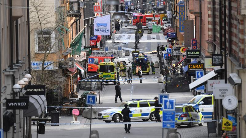 A street is cordoned off near the department store Ahlens following Friday's suspected terror attack in central Stockholm, Sweden. (Photo: AP)