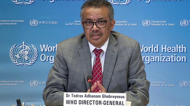 TV grab taken from the World Health Organization website shows WHO director-general Tedros Adhanom Ghebreyesus as he delivers a news briefing on COVID-19 (novel coronavirus) from the WHO headquarters in Geneva on March 30, 2020. (AFP)