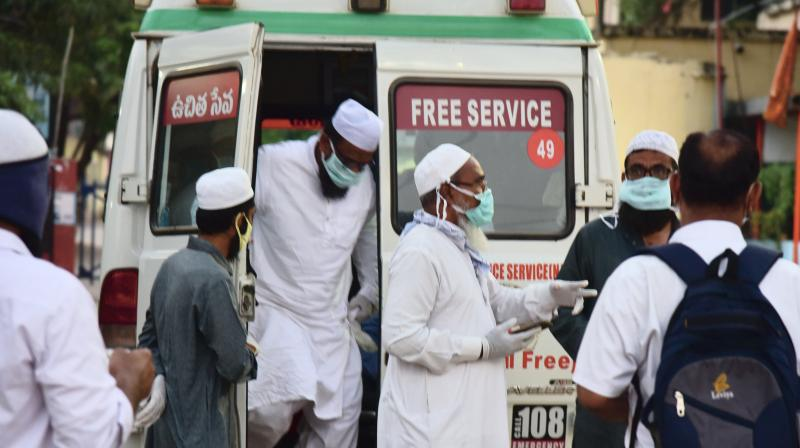 People who attended the Tablighi Jamaat congregation in Old Delhi being taken for coronavirus testing. PTI photo