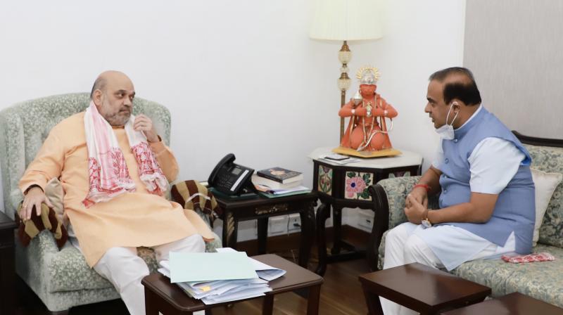 Himanta Biswa Sarma with Amit Shah (Image credit: amitshah.co.in)