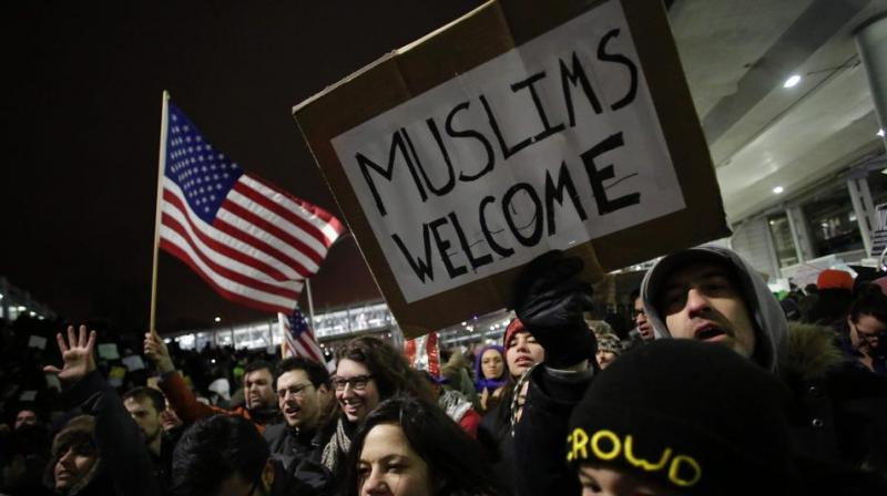 Demonstrators protest against President Trump's executive immigration ban at Chicago O'Hare International Airport on January 28, 2017. (Photo: AFP)