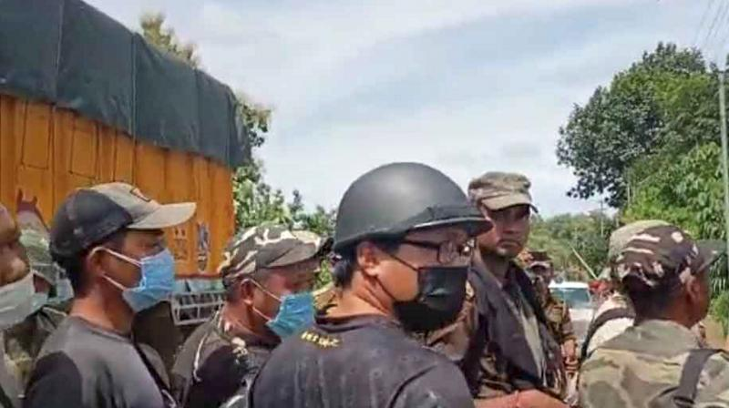 Police personnel during a clash at Assam-Mizoram border at Lailapur in Cachar district. (Photo: PTI/File)