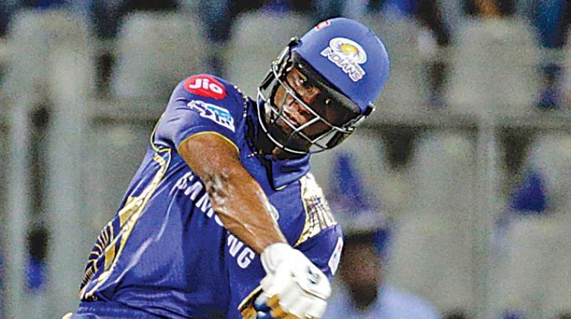 Evin Lewis of Mumbai Indians en route to his half-century against Rajasthan Royals. (Photo: PTI)