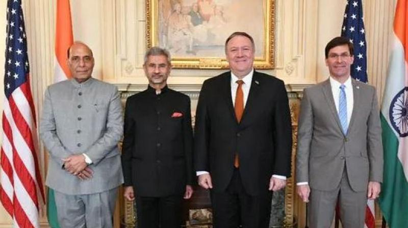 Pompeo along with the Defence Secretary Mark Esper on Wednesday hosted their Indian counterparts External Affairs Minister S Jaishankar and Defence Minister Rajnath Singh for the talks. (Photo: Twitter)