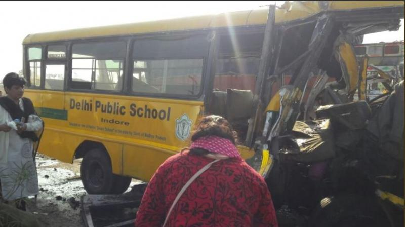 The bus belonged to Delhi Public School and collided with the truck on Kanadia Road in Indore. (Photo: ANI/Twitter)