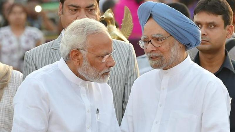 The show of cordiality between the incumbent and the former premier follows a rare row that broke out in December 2017 after Modi insinuated that Manmohan Singh had colluded with Pakistan in the Gujarat polls. (Photo: File)