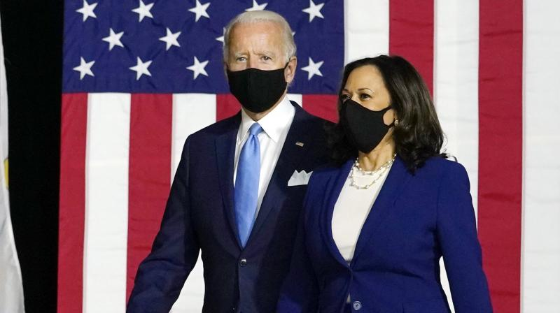 Democratic presidential candidate former Vice President Joe Biden and his running mate Senaor Kamala Harris. (AP)