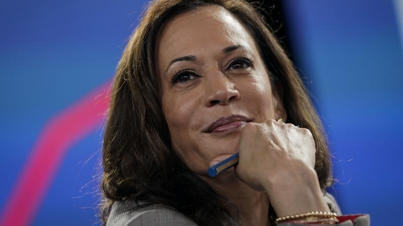 Democratic presidential candidate former Vice President Joe Biden's running mate Senator Kamala Harris. (AFP)