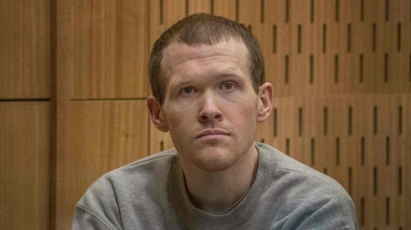 Australian white supremacist Brenton Tarrant attends his first day in court in Christchurch on August 24, 2020. (AFP)
