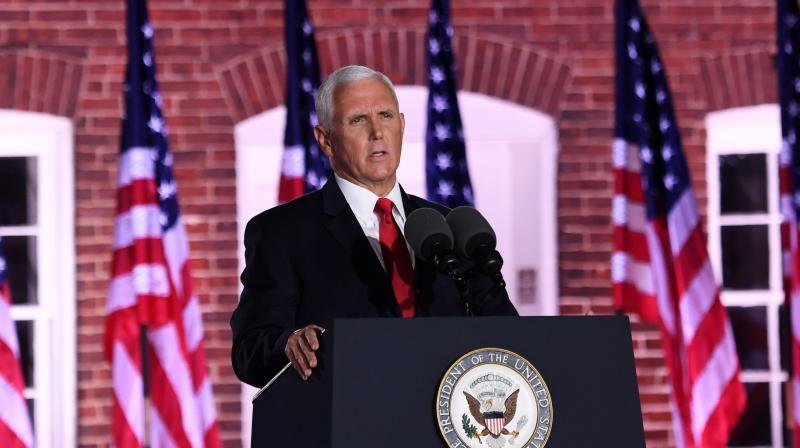 US Vice President Mike Pence speaks during the third night of the Republican National Convention at Fort McHenry National Monument in Baltimore, Maryland. (AFP)