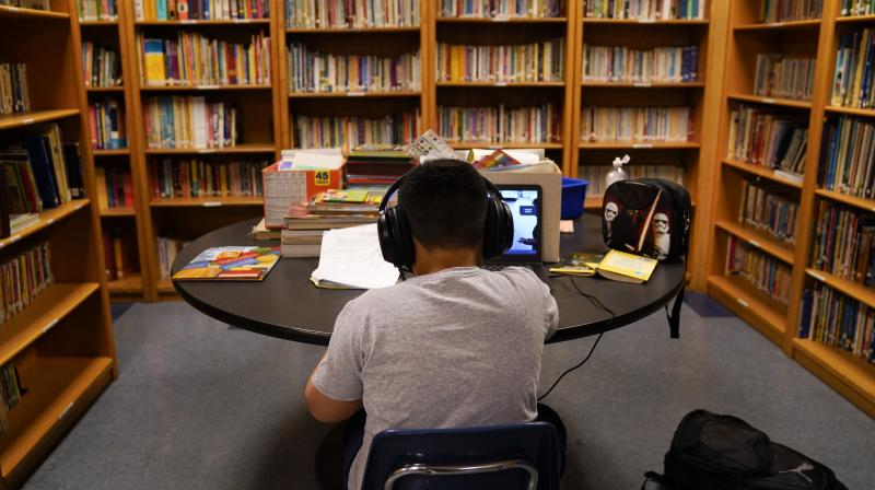 A Los Angeles Unified School District student attends an online class at Boys & Girls Club of Hollywood in Los Angeles. (AP)