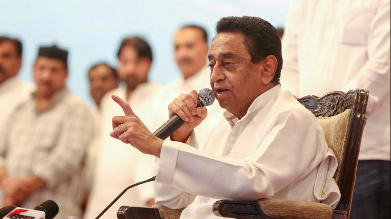 The March 20, 2020 press conference at which then Madhya Pradesh chief minister Kamal Nath announced his resignation. The press conference was attended by a journalist who later tested positive for the Covid-19 virus. (PTI)