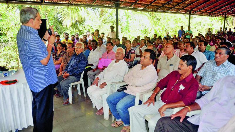 Defence Minister Manohar Parrikar addresses BJP workers in Cruz, Goa. (Photo: PTI)