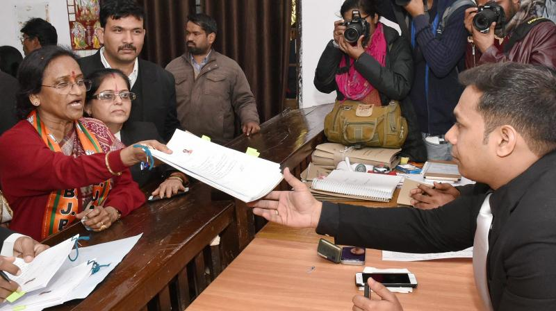 Rita Bahuguna Joshi  filling her nomination papers as a BJP candidate for UP Assembly Election in Lucknow. (Photo: PTI)
