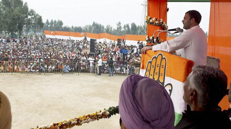 Congress Vice President Rahul Gandhi addresses an election rally on the concluding day of the campaigning for the state assembly polls, in Lambi near Muktsar. (Photo: PTI)