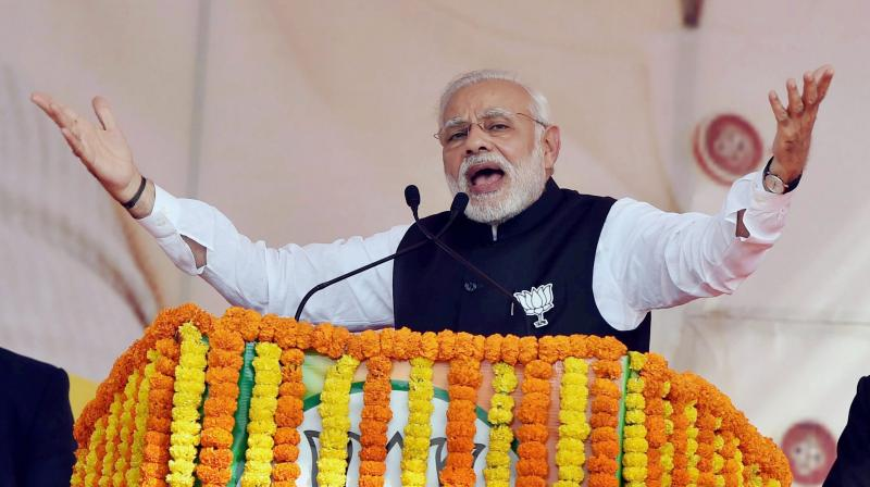 Prime Minister Narendra Modi addresses the BJP's Parivartan Sankalp Rally in Ghaziabad. (Photo: PTI)