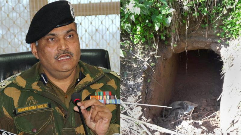 BSF DIG Dharmendera Pareek addressing the media to inform about the twenty meter tunnel dug from across the International Border detected by BSF well in advance foiling the nefarious design of Pakistani sponsored terrorists in Ramgarh sector in Jammu. (Photo: AP)