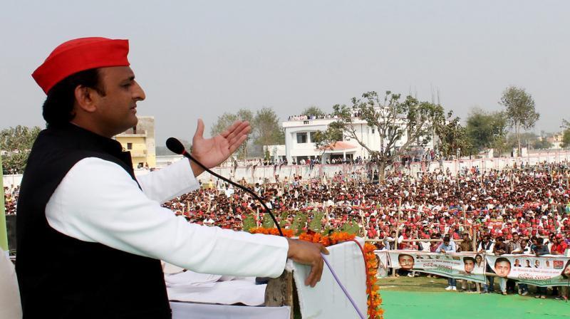 Uttar Pradesh Chief Minister Akhilesh Yadav addresses an election rally in Bahraich district. (Photo: PTI)