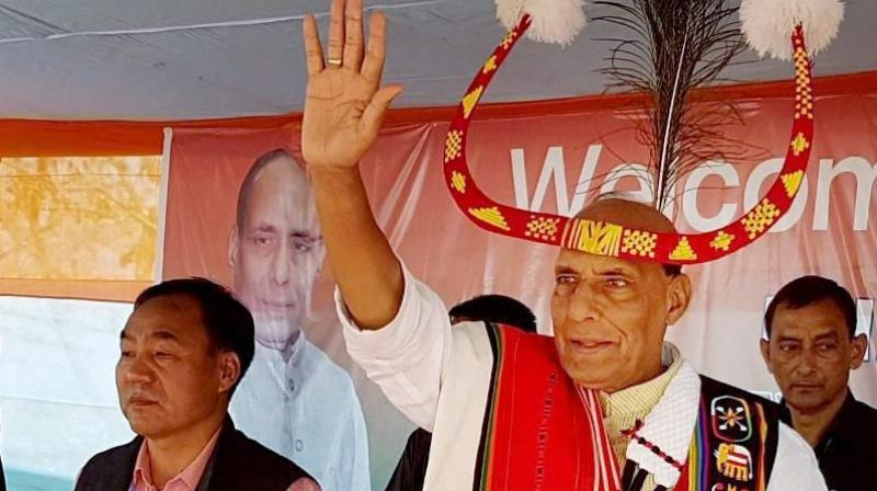 Rajnath Singh in traditional Manipuri attire during an election rally in Tamei constituency in Tamenglong district, Manipur. (Photo: PTI)