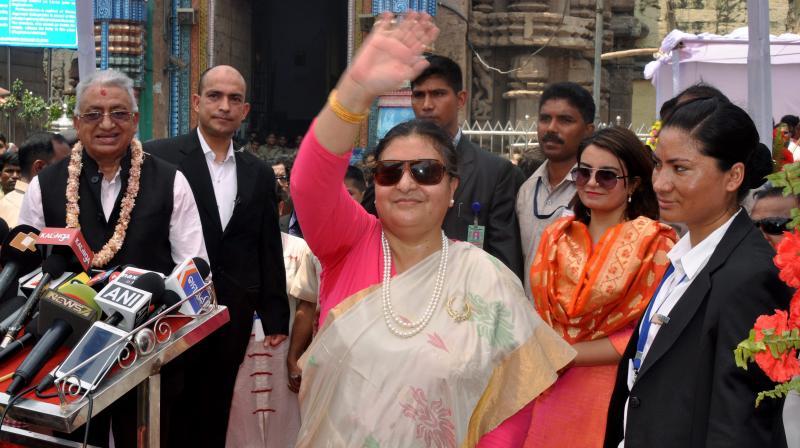 Nepal President Bidya Devi Bhandari waves during her visit to Jagannath Temple in Puri. (Photo: AP)