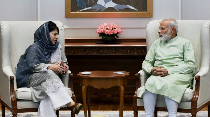 Prime Minister Narendra Modi and Jammu and Kashmir chief minister Mehbooba Mufti during a meeting in New Delhi. (Photo: PTI/File)
