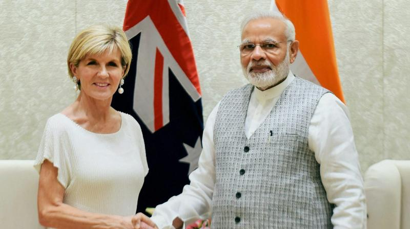 Prime Minister Narendra Modi shakes hands with Minister for Foreign Affairs, Australia, Julie Bishop in a meeting in New Delhi. (Photo: AP)
